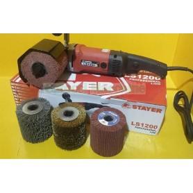 STAYER LS1200 + 4 Rulli in Fili di Acciaio + Nylon Satinatrice Rusticatrice